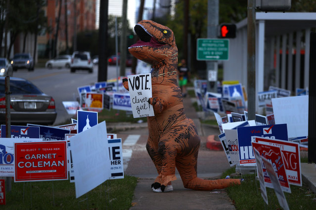 A person dressed as a dinosaur urges people to vote in the midterm elections in Houston, Texas on November 6, 2018. (Photo by Cathal McNaughton/Reuters)