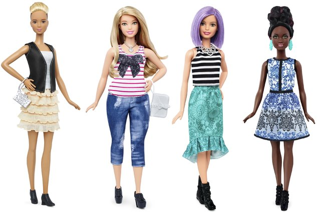 New Barbie doll body shapes of tall (L), curvy (2nd L) and petite (R) are seen next to the traditional Barbie (2nd R) in this combination of photos released by Mattel on January 28, 2016. (Photo by Reuters/Mattel)