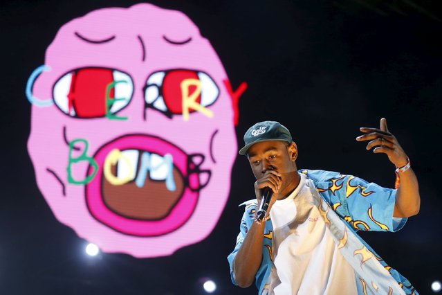 Tyler the Creator performs on a stage set giant bed at the Coachella Valley Music and Arts Festival in Indio, California April 11, 2015. (Photo by Lucy Nicholson/Reuters)
