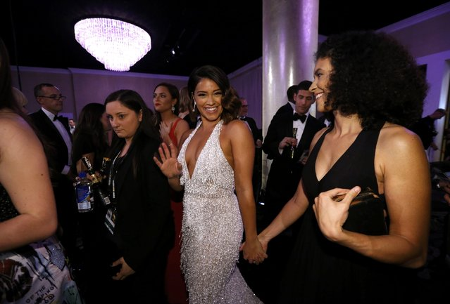 Actress Gina Rodriguez (C) arrives at a pre-show cocktail party at the 74th Annual Golden Globe Awards in Beverly Hills, California, U.S., January 8, 2017. (Photo by Mario Anzuoni/Reuters)
