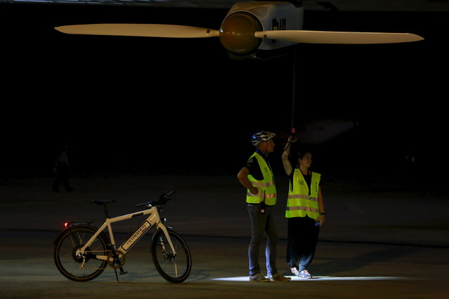 The Solar Impulse 2 is seen before take-off at the Mandalay international airport, March 30, 2015. (Photo by Soe Zeya Tun/Reuters)