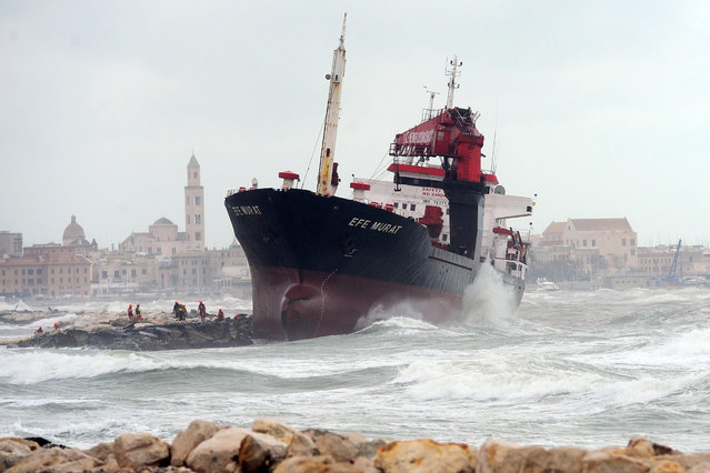 The Turkish merchant ship Efe Murat is driven aground in strong winds in Bari, Italy on February 25, 2019. (Photo by De Giglio/Fotogramma/Ropi/ROPI via ZUMA Press/Rex Features/Shutterstock)