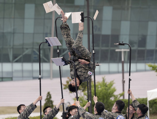 In this Thursday, May 30, 2019, file photo, South Korean soldiers show their skills of martial arts during a drill as part of the Ulchi Taeguk exercises in Goyang, South Korea. The four-day exercises will include massive civilian evacuation drills and a South Korea-only military drill aimed at preparing for war situations and disasters. (Photo by Lee Jin-man/AP Photo/File)