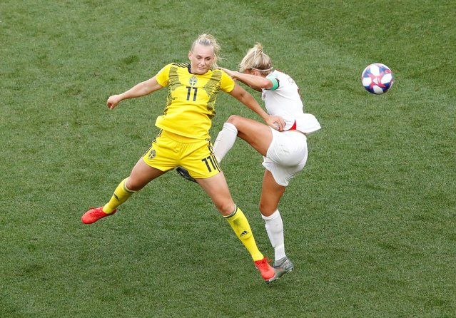 Stina Blackstenius of Sweden competes for a header with Steph Houghton of England during the 2019 FIFA Women's World Cup France 3rd Place Match match between England and Sweden at Stade de Nice on July 06, 2019 in Nice, France. (Photo by Jean-Paul Pelissier/Reuters)