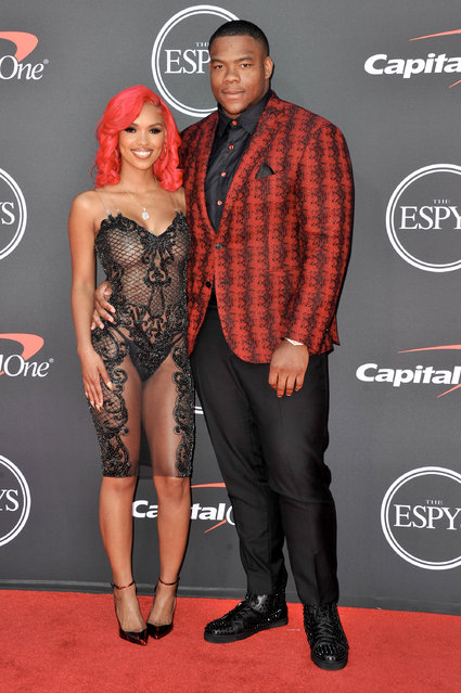(L-R) Yaunna Taylor and Daron Payne attend the 2019 ESPY Awards at Microsoft Theater on July 10, 2019 in Los Angeles, California. (Photo by Allen Berezovsky/WireImage)