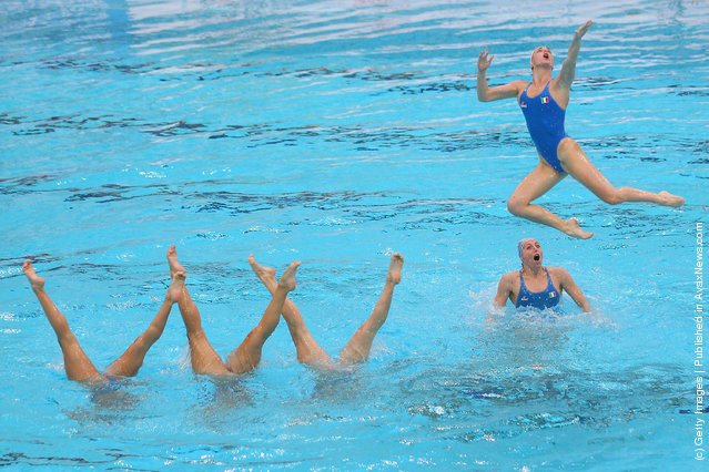 Italian team trains before the 6th FINA Synchronised Swimming World Trophy at the Water Cube