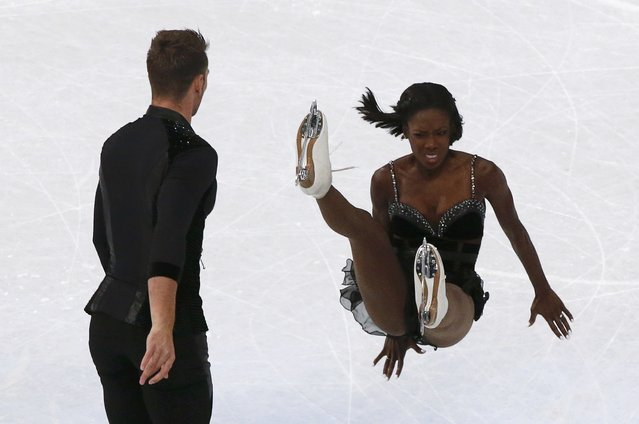 Vanessa James of France falls down while competing with Morgan Cipres in the figure skating ISU World Championships 2017 in Helsinki, Finland on March 29, 2017. (Photo by Grigory Dukor/Reuters)
