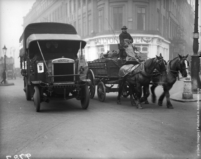 1919: One of the lorries being used to transport passengers during the tube strike