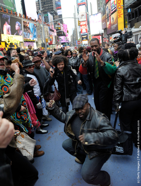 """A general view of atmosphere during the NYC """"Soul Train"""" Line Flash Mob: Hippest Trip in America in honor of Don Cornelius in Times Square"""