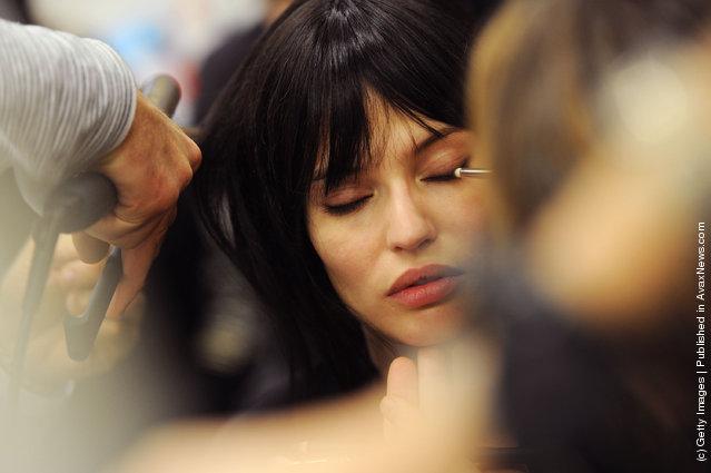 Model Bianca Balti prepares backstage at the Iceberg Autumn/Winter 2012/2013 fashion show as part of Milan Womenswear Fashion Week