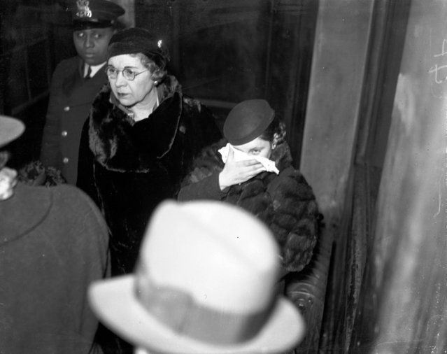 "Mae Blalock, alias Mae Davis, girlfriend of Basil ""The Owl"" Banghart (who is an associate of gangster Roger Touhy), was arrested in Baltimore and returned to Chicago, circa February 20, 1934, for possessing some of the money Banghart stole in a mail truck robbery. According to the Chicago Tribune, Mae Davis claimed to be Banghart's wife. (Photo by Chicago Herald & Examiner Historical Photo)"