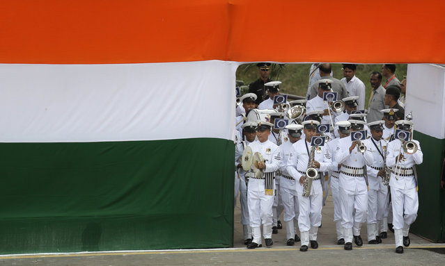 Indian Naval band marches in at the historical Red Fort to celebrate Independence Day in New Delhi, India, Tuesday, August 15, 2017. India Tuesday commemorated its Independence in 1947 from British colonial rule. (Photo by Manish Swarup/AP Photo)