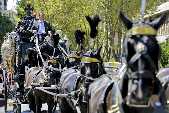An ornate hearse pulled by six, black-plumed horses, carries the body of Vittorio Casamonica to a Roman Catholic basilica in the Rome suburbs, where the funeral mass was celebrated, August 20, 2015. Casamonica, 65, the head of a notorious Rome crime family, was given a lavish funeral on Thursday, with a helicopter dropping red rose petals on mourners and a brass band playing the theme tune from the Godfather movie. (Photo by Reuters/Stringer)