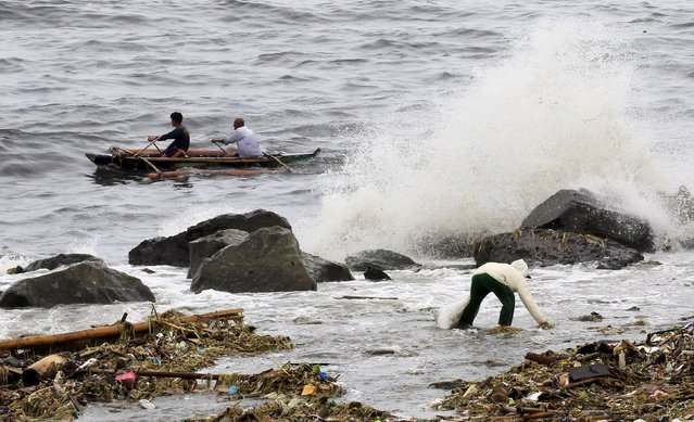 A woman collects recyclable materials floating in the sea, while big waves crash along the coastline due to strong winds brought by Typhoon Goni, locally named as Ineng, at Manila bay August 22, 2015. (Photo by Romeo Ranoco/Reuters)