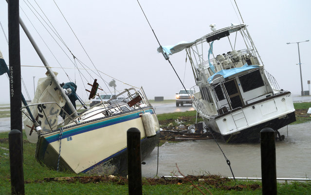 Boats pushed ashore in Port Lavaca on August 26, 2017. (Photo by Rick Wilking/Reuters)