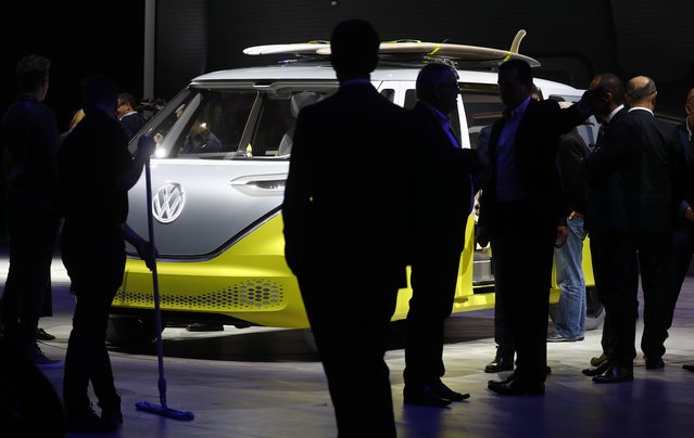 An VW Buzz is pictured during the opening of the Frankfurt Motor Show (IAA) in Frankfurt, Germany September 11, 2017. (Photo by Kai Pfaffenbach/Reuters)