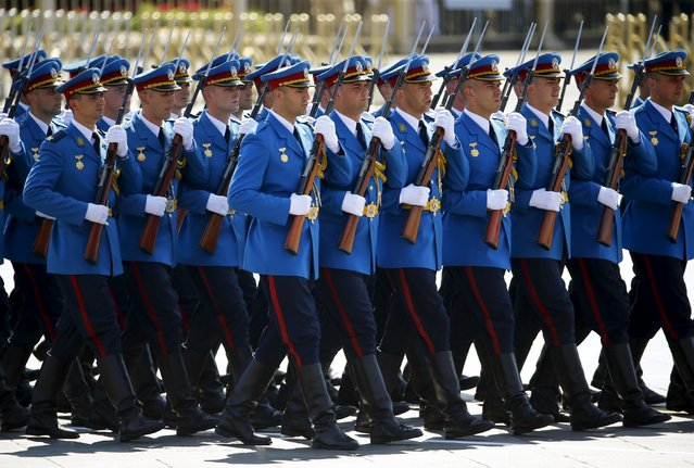 Serbian soldiers march during the military parade marking the 70th anniversary of the end of World War Two, in Beijing, China, September 3, 2015. (Photo by Damir Sagolj/Reuters)