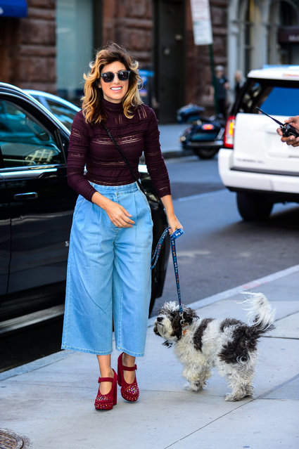 """Actress Jennifer Esposito enters the """"AOL Build"""" taping at the AOL Studios on September 28, 2017 in New York City. (Photo by Ray Tamarra/GC Images)"""