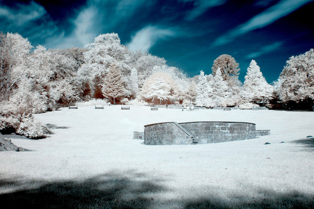 Colzium House Park, in Kilsyth pictured in infra-red. These are the stunning images of what looks like a picturesque winter wonderland – but actually shot in the middle of summer. Amateur photographer Catherine Perkinton, 45, has spent the summer travelling around the country to create the fabulous images by utilising infra-red. (Photo by Catherine Perkinton/SWNS/ABACAPress)