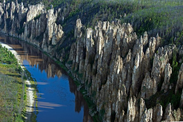"Russia From Above: ""By the River"". Lena Pillars National Park, located on the Sinyaya river in the Yakutia (Sakha) Republic. (Photo by Sergey Fomin)"