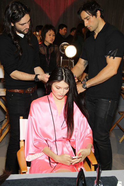 Models prepares backstage at The Victoria's Secret Fashion Show in New York