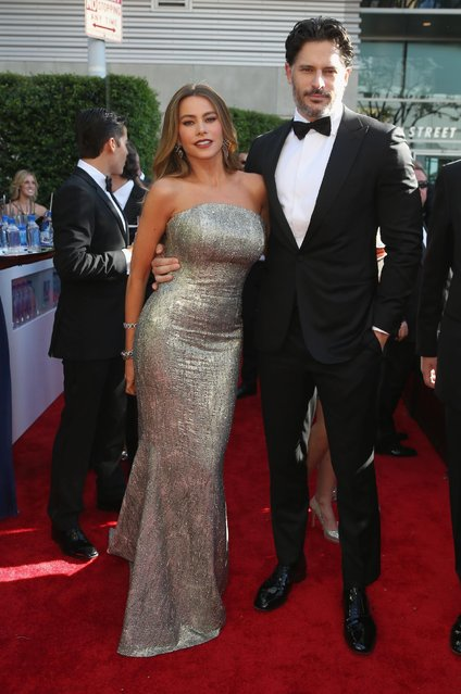 Sofia Vergara and Joe Manganiello arrive at the 67th Primetime Emmy Awards on Sunday, September 20, 2015, at the Microsoft Theater in Los Angeles. (Photo by J. Emilio Flores/Invision for the Television Academy/AP Images)