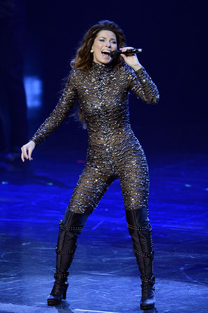 """Singer Shania Twain performs during the debut of her residency show """"Shania: Still the One"""" at The Colosseum at Caesars Palace on December 1, 2012 in Las Vegas, Nevada. (Photo by Denise Truscello/WireImage)"""