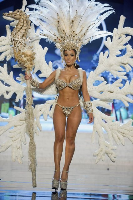 Miss Honduras Jennifer Andrade performs onstage at the 2012 Miss Universe National Costume Show on Friday, December 14, 2012 at PH Live in Las Vegas, Nevada. The 89 Miss Universe Contestants will compete for the Diamond Nexus Crown on December 19, 2012. (Photo by AP Photo/Miss Universe Organization L.P., LLLP)