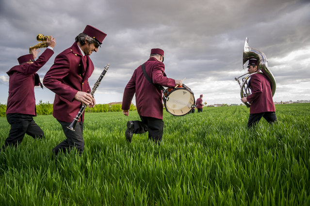 """Fields of Sounds"". At Renazzo, Italian village of the Po valley, the members of the musical band, get ready for a show in the middle of farmland typical of the area. Photo location: Renazzo, Emilia Romagna, Italy. (Photo and caption by Mirco Balboni/National Geographic Photo Contest)"