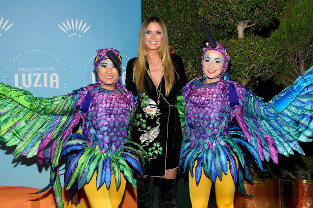 "Heidi Klum attends Cirque du Soleil presents the Los Angeles premiere event of ""Luzia"" at Dodger Stadium on December 12, 2017 in Los Angeles, California. (Photo by Matt Winkelmeyer/Getty Images)"