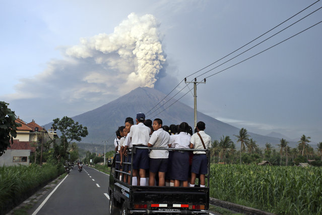 Students stand on a truck as they head to school with Mount Agung volcano spewing smoke and ash in Karangasem, Bali, Indonesia, Tuesday, November 28, 2017. Mount Agung volcano on Bali has erupted for the first time in more than half a century, forcing closure of the Indonesian tourist island's busy airport as the mountain gushes huge columns of ash that are a threat to airplanes. (Photo by Firdia Lisnawati/AP Photo)
