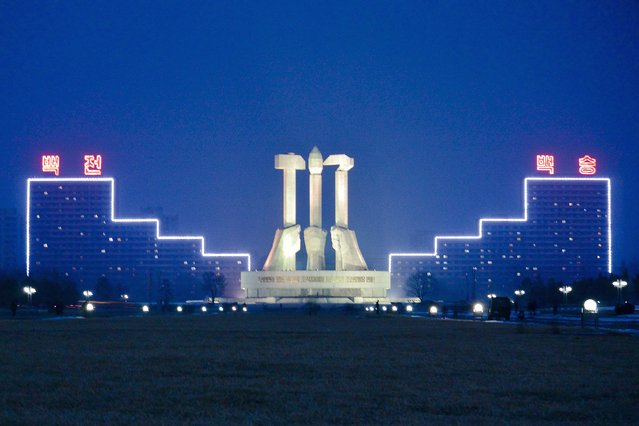 """The Workers Party Monument depicting the communist hammer and sickle with a traditional Korean calligraphy brush which represents the """"working intellectual"""" in February 2013, in Pyongyang, North Korea. (Photo by Andrew Macleod/Barcroft Media)"""