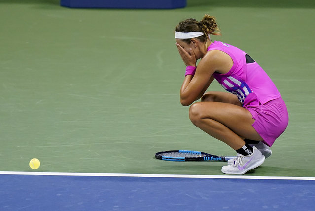 Victoria Azarenka, of Belarus, reacts after defeating Serena Williams, of the United States, during a semifinal match of the US Open tennis championships, Thursday, September 10, 2020, in New York. (Photo by Seth Wenig/AP Photo)