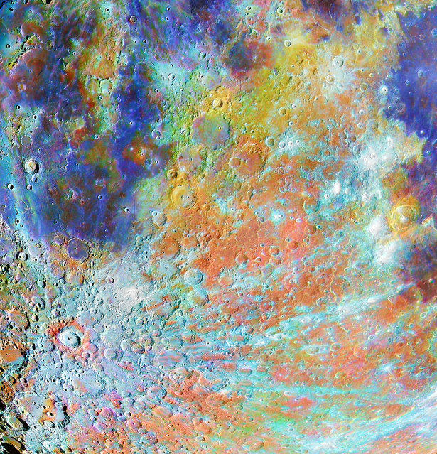 Our moon winner: Tycho Crater Region with Colours by Alain Paillou (France). The Tycho crater is one of the most famous on the moon. This huge impact has left impressive scars on the lunar surface. With the colours of the soil, Tycho is even more impressive. This picture combines one session with a black-and-white camera, to capture the details and sharpness, and one session with a colour camera, to show the colours of the soils. These hues come mainly from metallic oxides in small balls of glass. The blue shows high titanium oxide concentration and the red shows high iron oxide concentration. (Photo by Alain Paillou/2020 Astronomy Photographer of the Year)