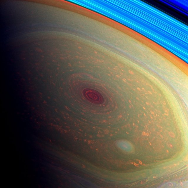 This spectacular, vertigo inducing, false-color image from NASA's Cassini mission highlights the storms at Saturn's north pole.(Photo by NASA/JPL-Caltech/SSI)