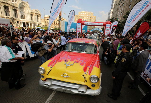 "Participants drive as they arrive in Mexico City to take part in the Carrera Panamericana (""Pan-American Road Race"") in Mexico October 15, 2016. (Photo by Henry Romero/Reuters)"