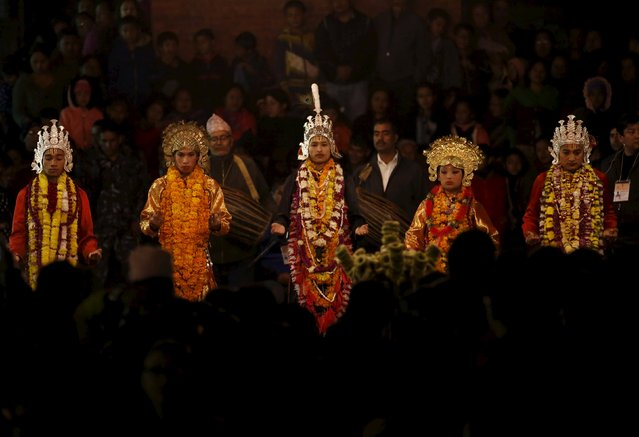 Mediums dressed as deities perform during the traditional Kartik dance festival at Patan Durbar Square in Lalitpur, Nepal November 24, 2015. (Photo by Navesh Chitrakar/Reuters)