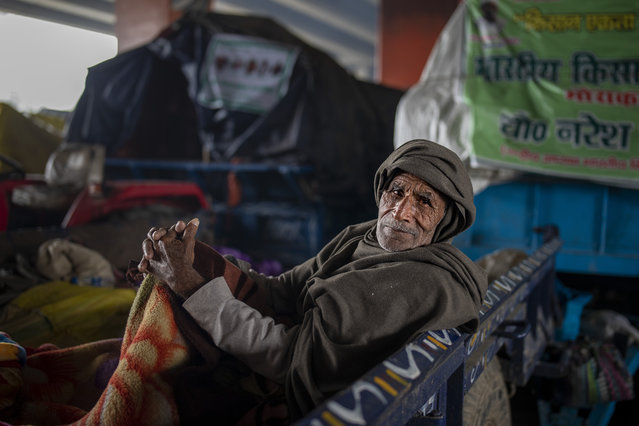 An elderly farmer sits in the back of a tractor trolly as they block a highway in protest against new farm laws at the Delhi-Uttar Pradesh state border, on the outskirts of New Delhi, India, Monday,  January 11, 2021. (Photo by Altaf Qadri/AP Photo)