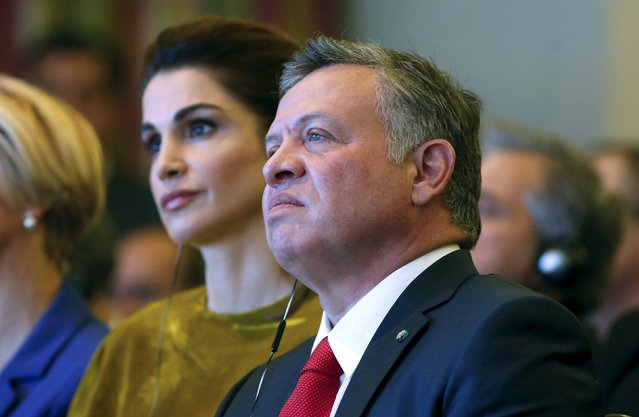 """Jordan's King Abdullah (R) and Queen Rania attend the """"Rome 2015 MED, Mediterranean dialogues"""" forum in Rome, Italy, December 10, 2015. (Photo by Remo Casilli/Reuters)"""