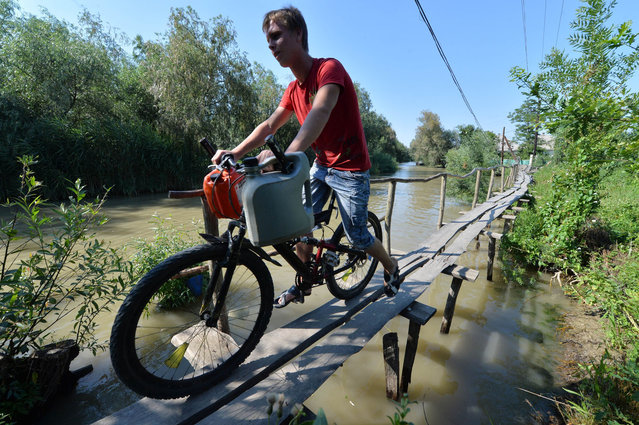 """A man rides his bikeon the wooden pedestrian way in the small city of Vylkove, Odessa region, on July 11, 2013. Vylkove is also known as """"The Ukrainian Venice"""" thanks to a number of canals inside its territory – the reason why boating is a more common method of transport than an automobile. The city is the last settlement on bank of the Danube before the Black Sea. The Danube river is Europe's second longest river after the Volga. From Black forest of Germany to the Black Sea it passes through or touches the borders of ten countries of Central Europe. (Photo by Sergei Supinsky/AFP Photo)"""