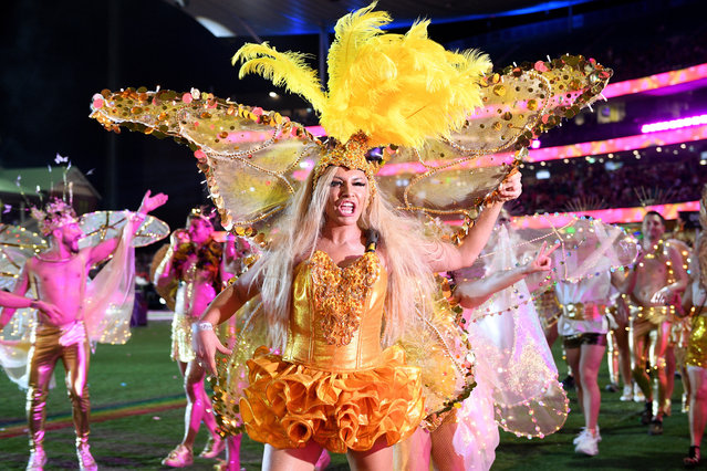 Participants take part in the 43rd annual Gay and Lesbian Mardi Gras parade at the SCG in Sydney, Australia, 06 March 2021. (Photo by Dan Himbrechts/EPA/EFE)