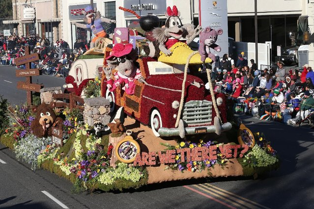 The Burbank Tournament of Roses Association float winner of the Theme Award on the parade route during the 127th Tournament of Roses Parade Presented by Honda on January 1, 2016 in Pasadena, California. (Photo by Frederick M. Brown/Getty Images)
