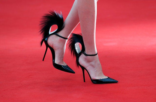 """Shoes of a guest are seen in detail at the film """"Roma"""" premiere at the 75 th Venice International Film Festival at the Palazzo del Cinema on August 30, 2018 in Venice, Italy. (Photo by Tony Gentile/Reuters)"""