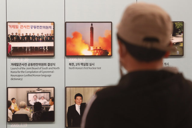 A photo showing North Korea's missile launch is displayed at the Unification Observation Post in Paju, near the border with North Korea, South Korea, Wednesday, March 24, 2021. North Korea fired short-range missiles this past weekend, just days after the sister of Kim Jong Un threatened the United States and South Korea for holding joint military exercises. (Photo by Ahn Young-joon/AP Photo)