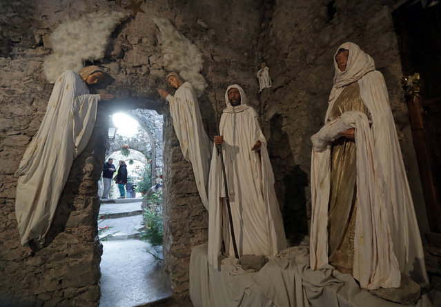 A Nativity scene is seen in the streets and alleys in the medieval mountain village of Luceram as part of Christmas holiday season, France, December 15, 2016. (Photo by Eric Gaillard/Reuters)
