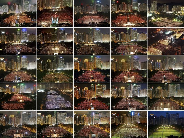 This combination of images between 1997 and 2021 shows thousands of people attend a June 4th candlelight vigil in Hong Kong's Victoria Park to mark the anniversary of the military crackdown on a pro-democracy student movement in Beijing, except for this year at bottom right. Hong Kong is the only region under Beijing's jurisdiction that holds significant public commemorations of the 1989 crackdown and memorials for its victims. Hong Kong has a degree of freedom not seen on the mainland as a legacy of British rule that ended in 1997. Top row from left are 1997, 1998, 1999, 2000, and 2001. Second row from left are 2002, 2003, 2004, 2005 and 2006. Third row from left are 2007, 2008, 2009, 2010 and 2011. Fourth row from left are 2012, 2013, 2014, 2015 and 2016. Bottom row from left are 2017, 2018, 2019, 2020 and 2021. (Photo by AP Photo)
