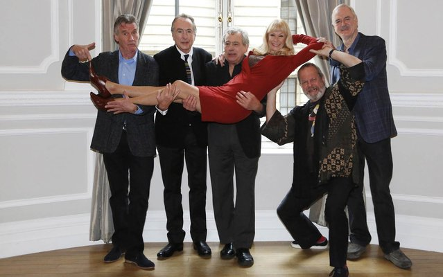 (L-R) Michael Palin, Eric Idle, Terry Jones, Carol Cleveland, Terry Gilliam and John Cleese attend the Monty Python Reunion announcement press conference at the Corinthia Hotel on November 21, 2013 in London, England. (Photo by Ian Gavan/Getty Images)