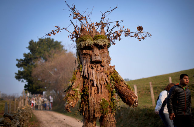 """A man dressed as a tree takes part in """"La Vijanera"""", a winter masquerade at the beginning of carnival season in Europe, in Silio, northern Spain, January 8, 2017. (Photo by Vincent West/Reuters)"""