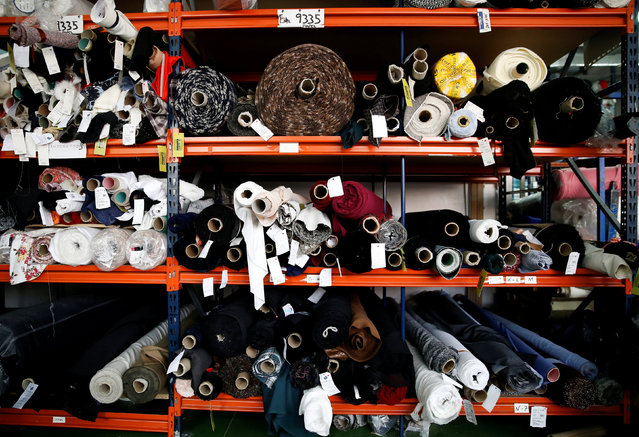 Fabric rolls are stored in a textile factory in Madrid, Spain May 19, 2014. (Photo by Andrea Comas/Reuters)