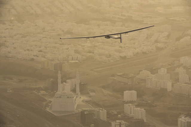 Solar Impulse 2, the world's first airplane flying on solar energy, is pictured en route to Ahmedabad, India, March 10, 2015. (Photo by Jean Revillard/Reuters)